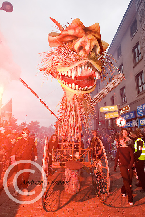 Characters from  This Fierce Beauty, Macnas Festival Parade , the high light of the Galway Arts Festival. Photo:Andrew Downes