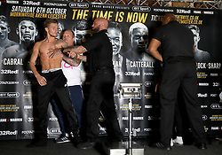 Archie Sharp is walked away from Lyon Woodstock after going head-to-head during the weigh-in at the Mercure Leicester the Grand Hotel.