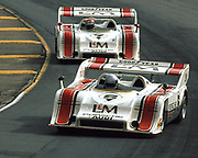 Mark Donohue leads team mate George Follmer in their Porsche 917/10K cars at the 1972 Donnybrooke Can-Am