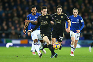 Ben Chilwell of Leicester City (c) makes a break. Premier league match, Everton v Leicester City at Goodison Park in Liverpool, Merseyside on Wednesday 31st January 2018.<br /> pic by Chris Stading, Andrew Orchard sports photography.