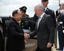 April 23, 2018 - Washington, District of Columbia, U.S. - Defense Secretary JAMES MATTIS meets with His Excellency PRAWIT WONGSUWON, Minister of Defence for the Kingdom of Thailand at the Pentagon in Washington, D.C., April 23, 2018. (Credit Image: ? DOD via ZUMA Wire/ZUMAPRESS.com)