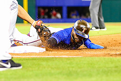 May 7, 2018 - Arlington, TX, U.S. - ARLINGTON, TX - MAY 07: Texas Rangers left fielder Delino DeShields (3) dives back to first base during the game between the Texas Rangers and the Detroit Tigers on May 07, 2018 at Globe Life Park in Arlington, Texas. Texas defeats Detroit 7-6. (Photo by Matthew Pearce/Icon Sportswire) (Credit Image: © Matthew Pearce/Icon SMI via ZUMA Press)