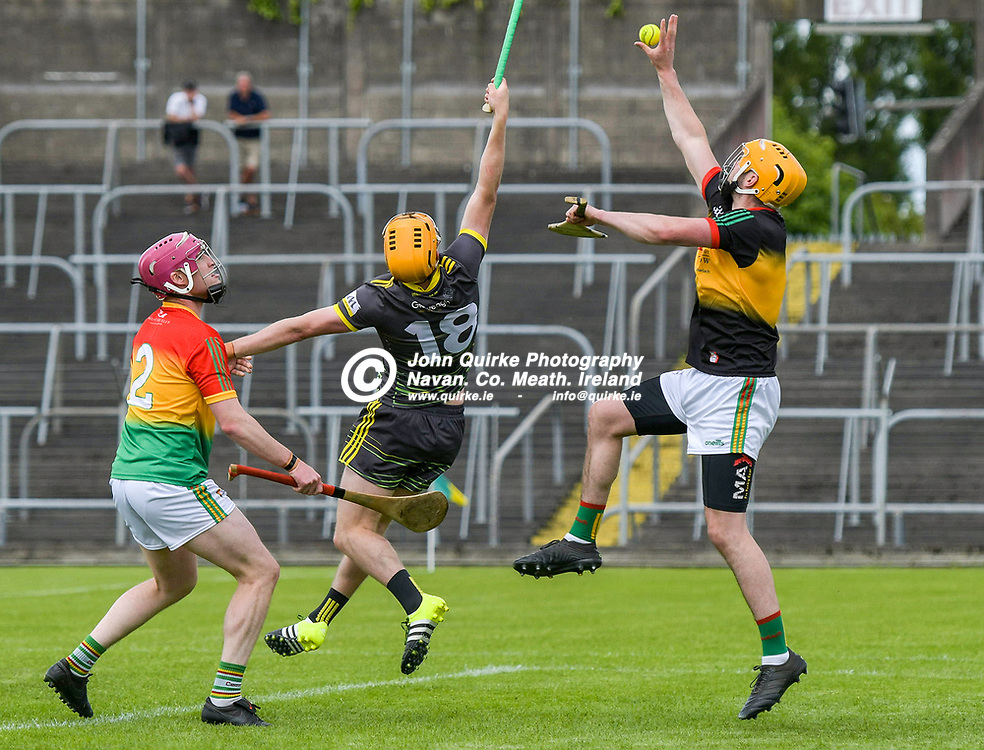 Carlow goalkeeper, Brian Treacy, catches under pressure  for   in the Meath v Carlow NHL Div 2A match in Pairc Tailteann, Navan.<br /> <br /> Photo: GERRY SHANAHAN-WWW.QUIRKE.IE<br /> <br /> 06-06-2021