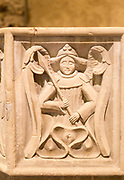 Detail stonework carving of winged angel church of Saint Botolph, Iken, Suffolk, England, UK