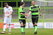 Forest Green Legends Marc McGregor scores a goal 3-3 and celebrates during the Trevor Horsley Memorial Match held at the New Lawn, Forest Green, United Kingdom on 19 May 2019.