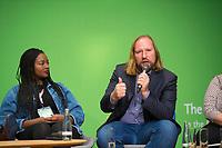 DEU, Deutschland, Germany, Berlin, 24.11.2018: Aminata Touré, Member of Parliament in Schleswig-Holstein, Anton Hofreiter,  Chairman of the Parliamentary Group of Alliance 90 / The Greens in the German Parliament. Council of the European Green Party (EGP council) at Deutsche Telekom Representative Office.