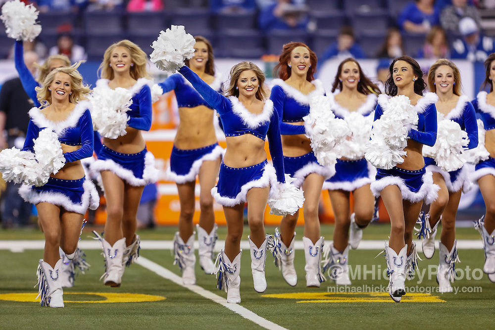 INDIANAPOLIS, IN - DECEMBER 20: The Indianapolis Colts cheerleaders are seen before the game against the Houston Texans at Lucas Oil Stadium on December 20, 2015 in Indianapolis, Indiana.  (Photo by Michael Hickey/Getty Images)