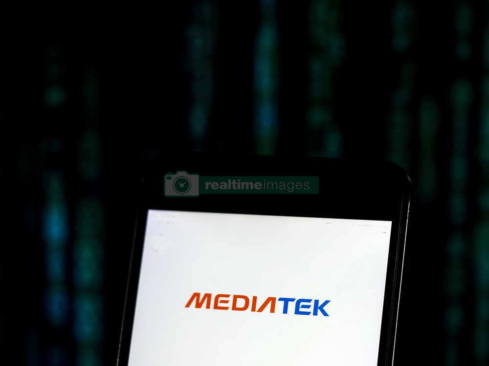 November 20, 2018 - Kiev, Ukraine - MediaTek Company logo seen displayed on smart phone. MediaTek Inc. is a Taiwanese fabless semiconductor company that provides chips for wireless communications, High-definition television, hand-held mobile devices like smart phones and tablet computers, navigation systems, consumer multimedia products and Digital subscriber line services as well as optical disc drives. (Credit Image: © Igor Golovniov/SOPA Images via ZUMA Wire)