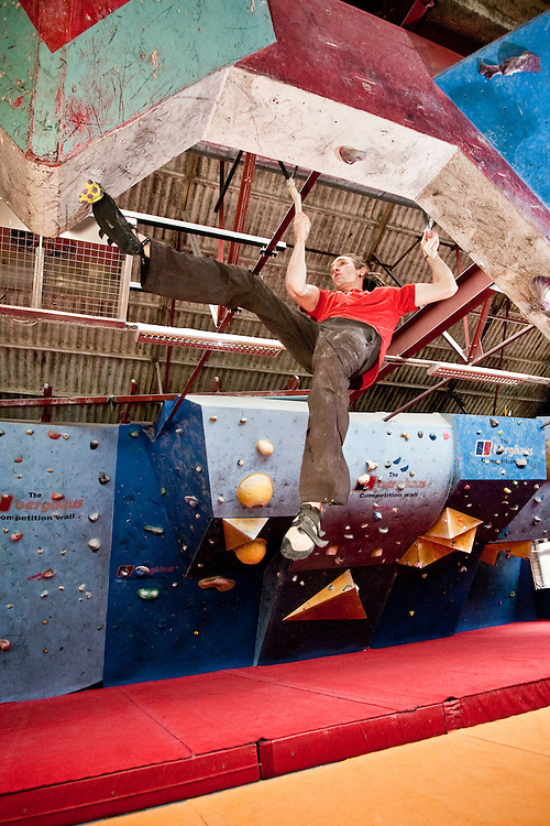 Dan Bradley using the Alpkit FigFours training tools at The Works bouldering wall in Sheffield
