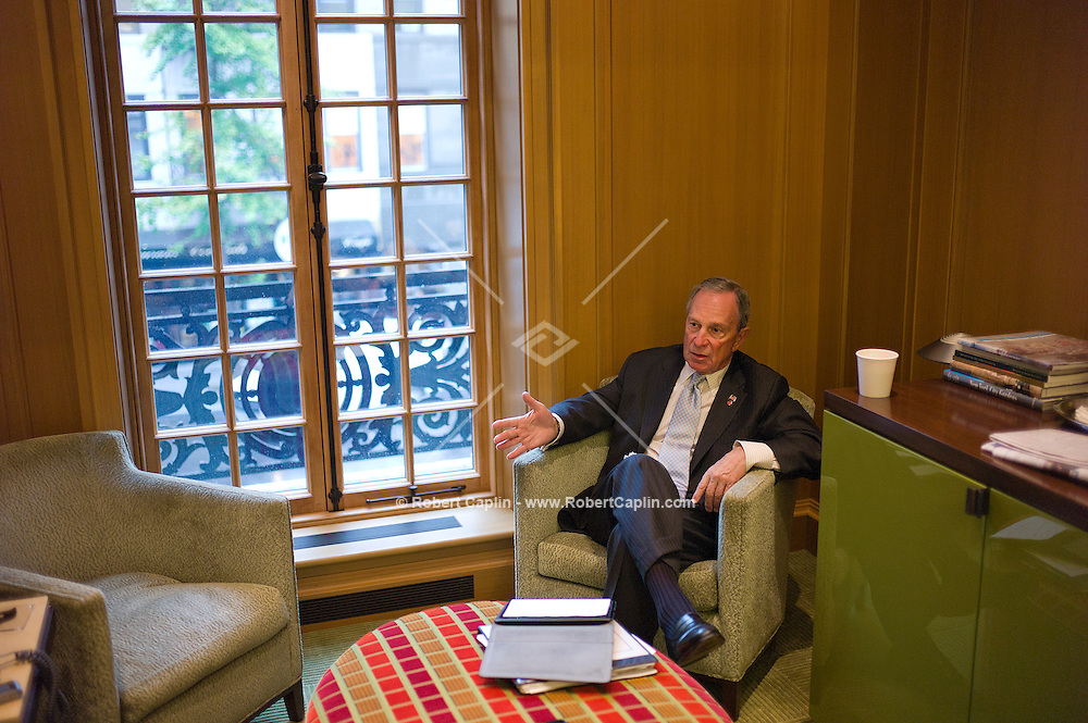 New York Mayor Michael R. Bloomberg in the offices of The Bloomberg Foundation in New York. ..Photo © Robert Caplin...