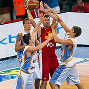 Montenegro's Vladimir DRAGICEVIC (C) during their Istanbul CUP 2011match played Ukraine between Montenegro at Abdi Ipekci Arena in Istanbul, Turkey on 24 August 2011. Photo by TURKPIX