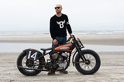 Dan Daughenbaugh with his Harley-Davidson 45 inch Flathead racer at TROG (The Race Of Gentlemen). Wildwood, NJ. USA. Sunday June 10, 2018. Photography ©2018 Michael Lichter.