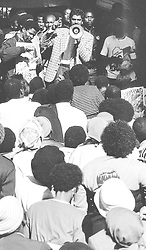 LOUD AND CLEAR: Jay Naidoo addresses strikers after ending a sit-in protest at the Department of Manpower offices in Johannesburg in 1990. Pic:ROBERT BOTHA. © Business Day