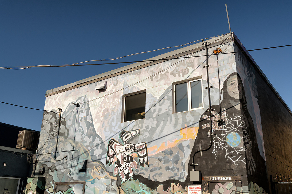 A mural adorns a building on Main Street in downtown Yukon