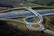 Nederland, Noord-Brabant, Eindhoven, 07-03-2010; Lichtviaduct, nieuwe Randweg Eindhoven (A2), viaduct afslag High Tech Campus. Let op gesloten hek, de foto is op zondag gemaakt. .luchtfoto (toeslag), aerial photo (additional fee required).foto/photo Siebe Swart