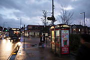 Street scene at night in the Kings Heath area of Birmingham, United Kingdom. Kings Heath is a suburb of Birmingham, three miles south of the city centre. It is the next suburb south from Moseley.