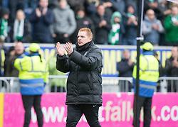 Hibernian's manager Neil Lennon at the end. Falkirk 1 v 2 Hibernian, Scottish Championship game played 31/12/2016 at The Falkirk Stadium .