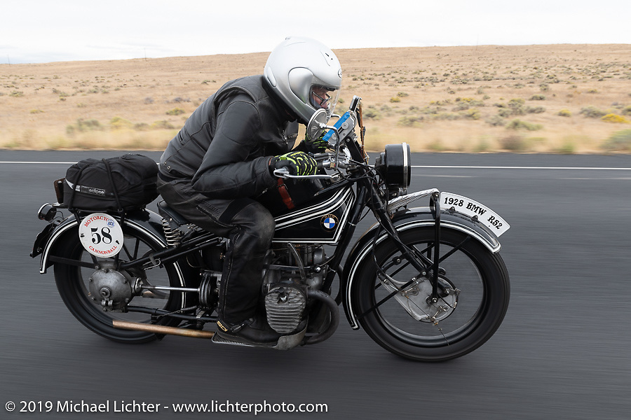 Norm Nelson riding his 1928 BMW R-52 in the Motorcycle Cannonball coast to coast vintage run. Stage 14 (303 miles) from Spokane, WA to The Dalles, OR. Saturday September 22, 2018. Photography ©2018 Michael Lichter.
