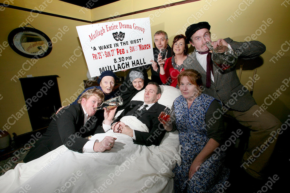 Pictured at Mullagh Hall for the launch of the play 'A wake in the west' were  Anthony Morrissey, Breda Sexton, Patricia Wynne, James Egan, Diane Wynne, Gregory Wynne, Cathy Sexton, Toghe Barrett & in spirit Tim Donnellan.<br /> Pic Emma Jervis / Press 22