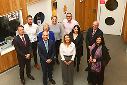 Ben macpherson minister for Migration with business community members North Pier Harbour Building   North Pier Oban new pontooons . on the ministers visit to      Argyll and Bute  picture kevin mclynn