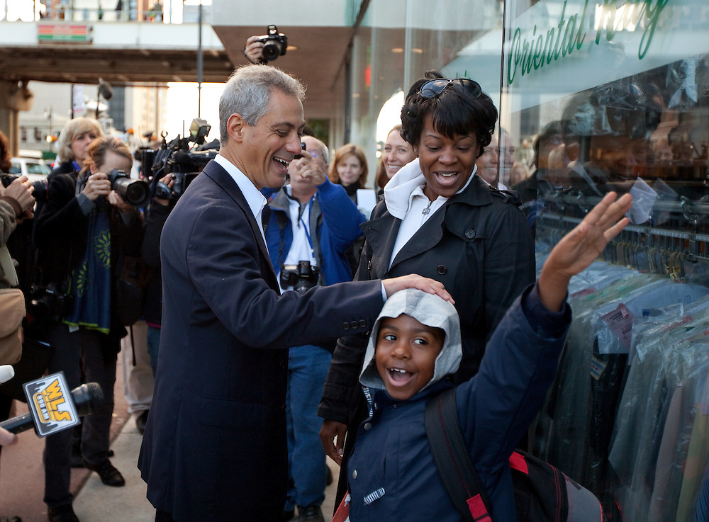 Former White House Chief of Staff Rahm Emanuel meets Chicagoans near an El train platform as he prepares to run for Mayor of Chicago Monday morning October 4, 2010 in Chicago.