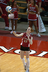 29 October 2005: Redbird Lindley McDavid serving. In three games, the Illinois State Redbirds ran past the Salukis of Southern Illinois University. The matchup took place at Redbird Arena on the campus of Illinois State University in Normal IL
