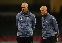 Real Madrid manager Zinedine Zidane and assistant manager David Bettoni<br /> <br /> Photographer Kevin Barnes/CameraSport<br /> <br /> UEFA Champions League Final - Training session - Juventus v Real Madrid - Friday 2nd June 2017 - Principality Stadium - Cardiff<br />  <br /> World Copyright © 2017 CameraSport. All rights reserved. 43 Linden Ave. Countesthorpe. Leicester. England. LE8 5PG - Tel: +44 (0) 116 277 4147 - admin@camerasport.com - www.camerasport.com