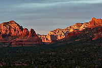 Sunset Panorama Sedona, Arizona. Image 8 of 11 images taken with a Nikon 1 V2 camera and 32 mm f/1.2 lens (ISO 200, 32 mm, f/5.6, 1/40 sec). Raw images processed with Capture One Pro. Panorama generated using AutoPano Giga Pro.