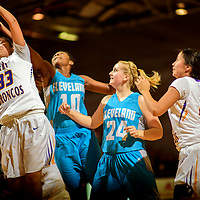 Kirtland Central Bronco Krystal Sheka (33) claims a rebound from the Cleveland Storm during the John Lomasney Invitational basketball tournament at Gallup High School Friday.