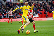 Wimbledon midfielder Dylan Connolly (16)  in action  during the EFL Sky Bet League 1 match between Sunderland and AFC Wimbledon at the Stadium Of Light, Sunderland, England on 2 February 2019.