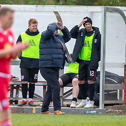 Arbroath's manager Dick Campbell. Brechin City 1 v 1 Arbroath, Scottish Football League Division One played 13/4/2019 at Brechin City's home ground Glebe Park. Arbroath win promotion.
