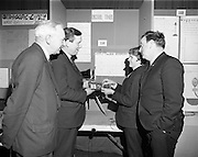 01/01/1970.1st January 1970 .Aer Lingus Young Scientist of the Year Exhibition at the RDS..L-R Patrick Lynch, Chairman of Aer lingus, Patrick Faulkner T.D., Brian English from St. Munchin's College, Limerick with his entry 'the construction of a digital timer and its use for measuring volocity' and Arthur Wells.