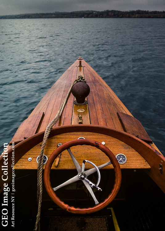 Bow of a restored PDQ speedboat, built of wood in 1904, owned by A.K. Wikstrom family of Skaneateles. the boat was built of oak, cedar, and mahogany.
