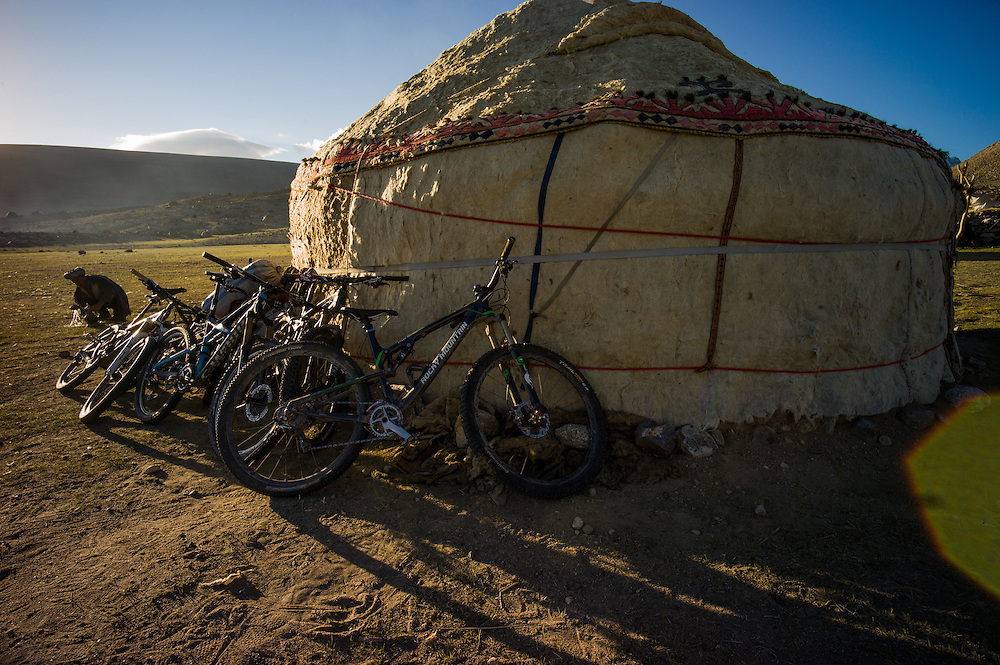 The first time bikes have been leant against this yurt, or any other here. Crossing into the Kyrgyz controlled Great Pamir meant a change in culture, and us being invited into the village yurts for tea, and subsequently to overnight.
