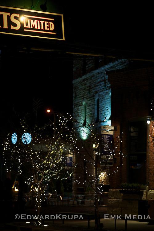 Night shot of the  Distillery District, Toronto.