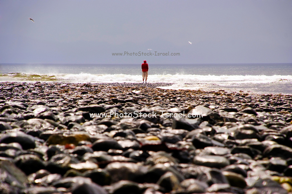 Lone man looking out to sea Photographed in Canada, British Columbia, Vancouver Island,
