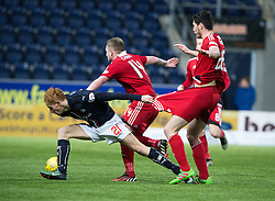 Falkirk's Scott Shepherd and Ayr United's Scott McKenna. Falkirk 1 v 1 Ayr United, Scottish Championship game played 14/1/2017at The Falkirk Stadium .