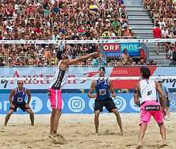 28.07.2016, Strandbad, Klagenfurt, AUT, FIVB World Tour, Beachvolleyball Major Series, Klagenfurt, Herren, im Bild Clemens Doppler (1, AUT), Alexander Horst (2, AUT) vorne, Nikita Liamin (1, RUS), Dmitri Barsouk (2, RUS) hinten // during the FIVB World Tour Major Series Tournament at the Strandbad in Klagenfurt, Austria on 2016/07/28. EXPA Pictures © 2016, PhotoCredit: EXPA/ Gert Steinthaler