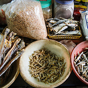 Dried fish for sale at a morning market in Hanoi, Vietnam.