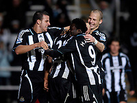 Photo: Jed Wee/Sportsbeat Images.<br /> Newcastle United v Birmingham City. The FA Barclays Premiership. 08/12/2007.<br /> <br /> Newcastle players Steve Taylor, Obafemi Martins and David Rozehnal (L to R) mob goalscorer Habib Beye (hidden).