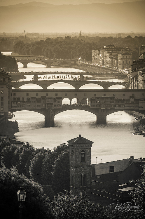 Afternoon light on the Arno River and Ponte Vecchio, Florence, Tuscany, Italy
