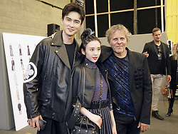 MILAN, June 17, 2017  Founder of fashion house Diesel and designer Renzo Rosso (R) poses with Chinese actor Vengo Gao (L) and actress Tang Yixin after the Men/Women show for fashion house Diesel Black Gold during Milan men's Fashion Week Spring/Summer 2018 in Milan, Italy, on June 17, 2017. (Credit Image: © Wang Jian/Xinhua via ZUMA Wire)