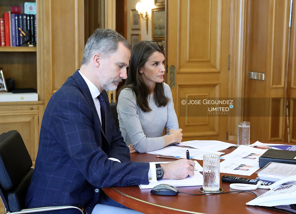 King Felipe VI of Spain, Queen Letizia of Spain attends a videoconference with Spanish Confederation of Commerce at Zarzuela Palace on May 22, 2020 in Madrid, Spain