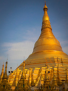 Spires and the Shwedagon Pagoda. Situated on Singuttara Hill in the center of Yangon (Rangoon), It is the most sacred Buddhist Stupa in Myanmar and one of the most important religious reliquary monuments in the world