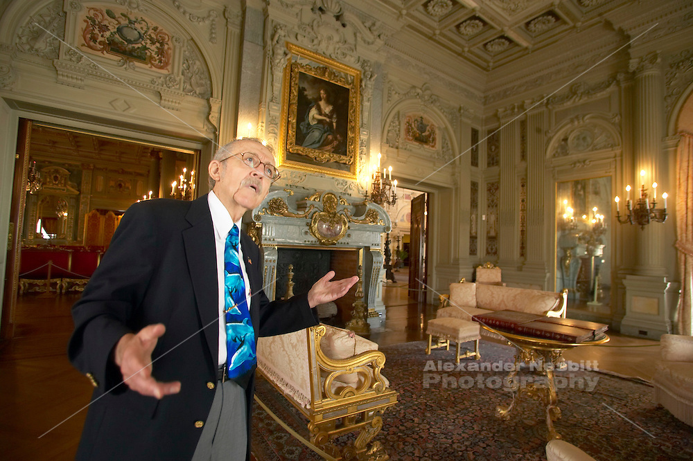Newport RI, USA - A tour guide explains the details in the Breakers, the incedibly ornate 19th century Vanderbilt mansion of the guilded era in Newport.