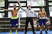 BOXEN: Hamburg Giants Professional Boxing, Hamburg. 01.08.2020<br /> Edison Zani - Kobiljon Husvaktaliev<br /> © Torsten Helmke