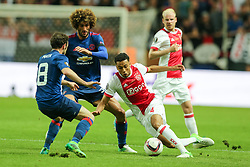 24-05-2017 SWE: Final Europa League AFC Ajax - Manchester United, Stockholm<br /> Finale Europa League tussen Ajax en Manchester United in het Friends Arena te Stockholm / Juan Mata (Manchester), Marouane Fellaini (Manchester), Jairo Riedewald (Ajax)