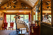 Chad Bones gives Larry Mills a haircut at the Basalt Barber Shop a week after they reopened. Garfield County began relieving COVID-19 restrictions on the first of May, but Lonnie Bones said they waited a little longer to reopen the shop.