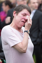 © Licensed to London News Pictures. 03/11/2015. Manchester, UK. Kirsty Howards mum Lynn at the The funeral of Kirsty Howard who was given just weeks to live at the age of four has taken place in Manchester today. Kirsty Howard was one of only two people in the world born with a back-to-front heart. She died on 24 October having spent years raising millions of pounds for Francis House children's hospice in Manchester. Photo credit: Andrew McCaren/LNP