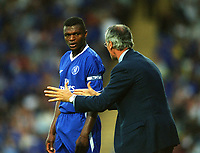 Chelsea Captain Marcel Desailly with manager Claudio Ranieri. Watford v Chelsea, Pre-Season Friendly, 5/08/2003. Credit: Colorsport / Matthew Impey